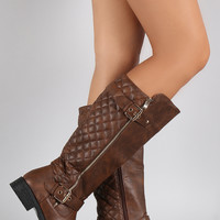 Lug Sole Quilted Buckled Riding Boots