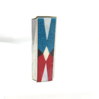 Vintage Silver Tone Crushed Turquoise Red Coral Native American Bic Lighter Case Holder Cover Sleeve Design Smoking Collectible Metal Item