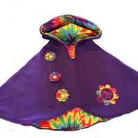 Toddler and Girls Poncho/Monogrammed Girls Purple Fleece Poncho by Brax Designs
