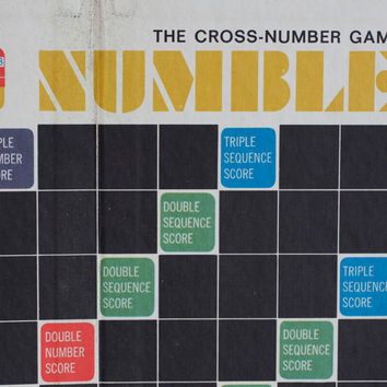 Vintage Numble Board Game - 1960's Cross Number Game