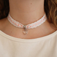 White and Pink Lace Heart Charm Choker