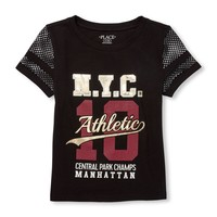 Girls Active Short Mesh Sleeve Foil Graphic Top