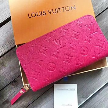 LV New fashion monogram leather wallet purse women Rose Red