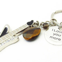 Tiger Eye Keychain, Gift for Him, Love You More Keychain, Guitar Keychain, Car Accessory