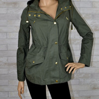 Vintage Anorak Jacket - Cargo Pockets Hoodie-Army Green