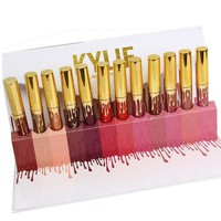 """Kylie"" Hot Sale Glass Bottle Lip Color Does Not Touch The Goblet Lipstick Lip Glaze Makeup Lip Gloss Lipstick 12 Color Set I13803-1"