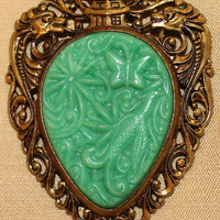 Asian Pendant Necklace, Faux Jade in Brass Tone