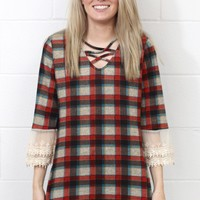 Strappy Plaid + Lace Bell Sleeve Top {Red Mix}