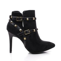 Bessy30 Black By Wild Diva, Strappy Studded Stiletto Ankle Bootie
