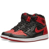 555088-001 MEN AIR 1 RETRO HIGH OG JORDAN BLACK VARSITY RED WHITE