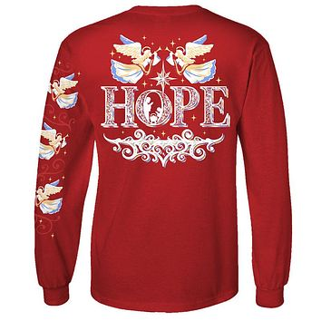 Southern Attitude Preppy Hope Holiday Red Long Sleeve T-Shirt