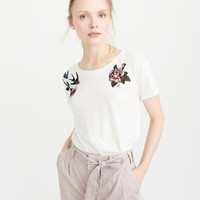 Womens Fabric Mix Embroidery Tee | Womens New Arrivals | Abercrombie.com