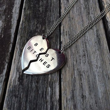 Best Bitches Set of 2 Necklaces - Stamped Best Bitches Pendants - Best Bitches Jewelry - BFF Necklace - BFF Jewelry - Best Friends Jewelry