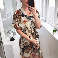 New product women's hot sale fashion printing V-neck button lace dress