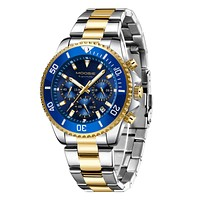 Watch,Mens Watch, Chronograph Waterproof Stainless Steel Luxury Date Analog Quartz Wristwatch for Men 01-GoldBlue