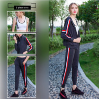 Women's 3 Piece Set Sport Suit Sports Bra +Coat+Sports Pants Yoga Set Gym Fitness Running Sportswear Elastic Workout Clothes