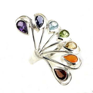 Multi-Gemstone Sterling Silver Peacock Ring