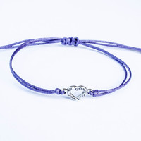 Heart Bracelet made with Cotton Cord