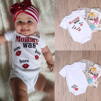 Cotton Baby Boy/Girl Mommy Was Here Lip Pattern Onesis