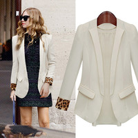 Leopard Long Sleeve Suits Blazer Jacket