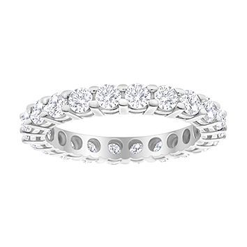 3 Carat (ctw) 14K White Gold Round Diamond Ladies Eternity Wedding Anniversary Stackable Ring Band Luxury Collection (D-E Color VS1-VS2 Clarity) platinum 7