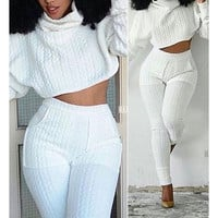 Sports Top Sweater Pants Trousers Set Two-Piece