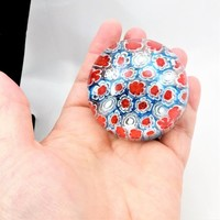 Millefiori Paperweight, Concentric Millefiori Glass, Close Packed, Blue, Red, White,Vintage Paperweights