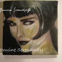 3x3 inch miniature acrylic canvas Louise Brooks painting  OOAK