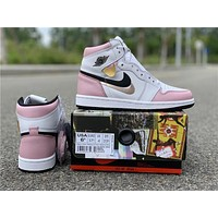 Air Jordan 1 Retro High OG WMNS White/Pink-Black | 555088 688