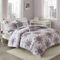 Cozy Soft® Cassy Comforter Set in Purple/Grey