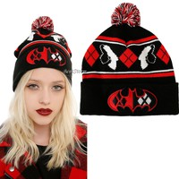 Licensed cool DC  Batman  Harley Quinn LOGO Pom Fair Isle Knit Beanie Stocking Cap Hat