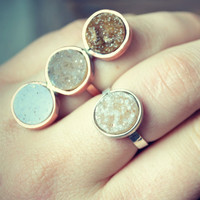 NEW MOON Druzy Ring in Sterling Silver