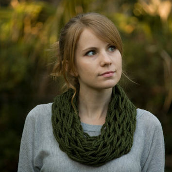 Knit Cowl, Olive Green Spring Cowl, Knitted Statement Necklace