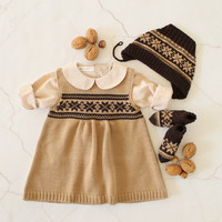 Knitted baby dress, cap and socks camel/brown jacquard. 100% merino wool. READY TO SHIP size newborn & 3-6 Months
