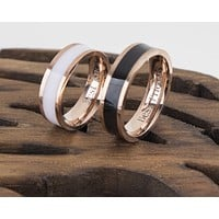 14K Rose Gold Couple Rings Black and White