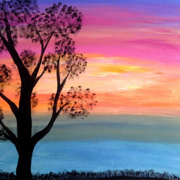 Colorful Pink Blue Yellow Orange Golden Sunset Acrylic painting Canvas Art Tree silhouette Seascape painting Wall decor Wall art Nature