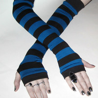 Once in a Blue moon - Blue and black striped arm warmers gothic goth punk emo grunge stripes fingerless gloves thumb holes cotton sleeves
