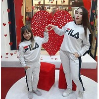 FILA Women Adults child Casual Long Sleeve Top Pants Set Two-Piece
