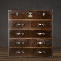 Mayfair Steamer Chest Vintage Cigar Leather | Trunks | Restoration Hardware