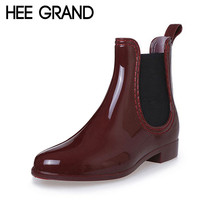 HEE GRAND Fashion Rain Boots Pointed Toe Women Rubber Boots Slip On Ankle Boots Casual Platform Rainboots Shoes Woman XWX2330