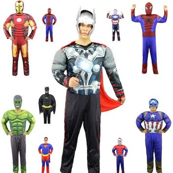 Adult Men Muscle Captain America Thor Batman Hulk Spiderman Superman Cosplay Halloween The Avengers Costume Carnival Purim dress