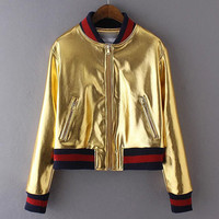 Women Awesome Cool Punk Metallic PU Leather Bomber Jacket Coat In Golden / Silver Color 2016 New Arrivals
