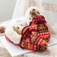 Women Soft Warm Indoor Slippers Cotton Sandal House Home Anti-slip Shoes = 1704270532