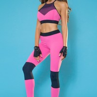 Bombshell Fit Diva Sports Bra - Pink and Black
