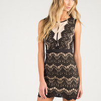 Lacey Waves Party Dress - Nude/Black /