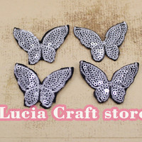 4pcs 4.5*5CM Butterfly Design Embroidered Motif Applique Iron-on or Sew-on Patches DIY Sewing Accessories 082007118