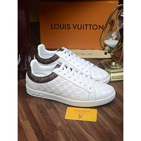 LV Louis Vuitton Men's Leather Fashion Sneakers Shoes