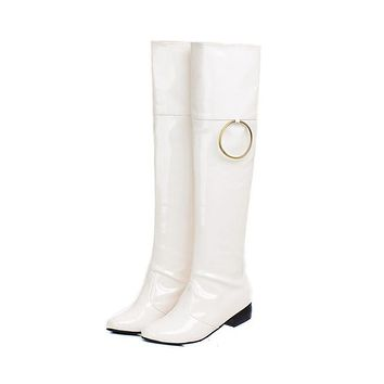 Patent Leather Metal Circle Over the Knee Boots 3189