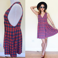 Vintage double breasted plaid overalls vest dress school girl red lolita mini v neck