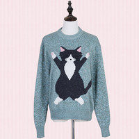 Vintage Round Neck Fun Cat Knitted Sweater Pullover